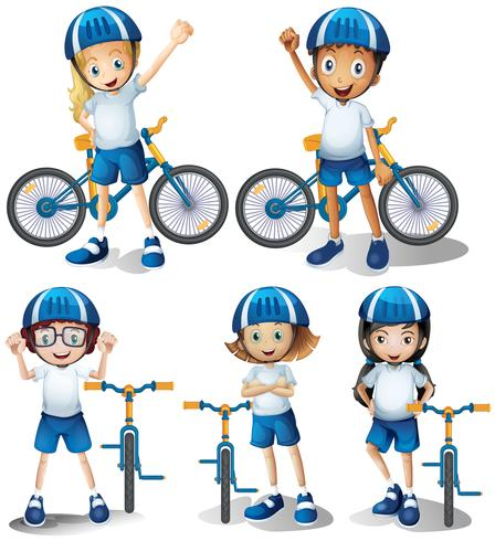 Boys and girls riding bicycle