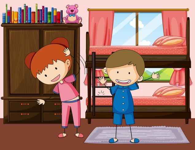 Ejercicio de niño y niña en dormitorio