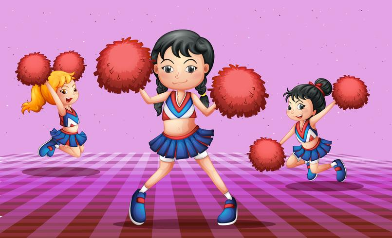Energetic cheerdancers with red pompoms