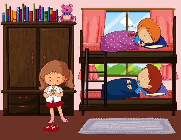 Crianças, dormir, em, beliche, e, um, menina, obtendo, vestido