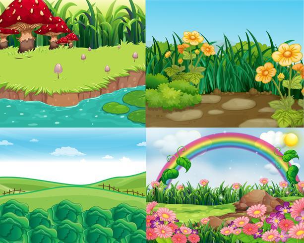Cuatro escenas con verduras y flores. vector