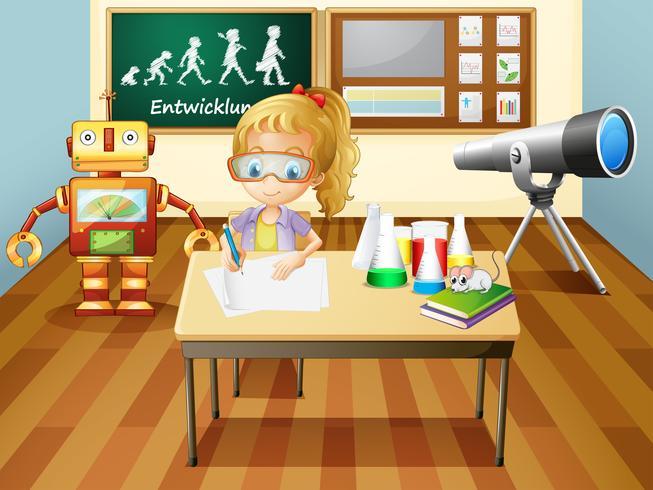Een meisje dat binnen een ruimte van het wetenschapslaboratorium schrijft