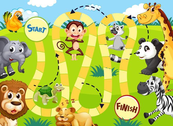 Jungle dieren bordspel sjabloon