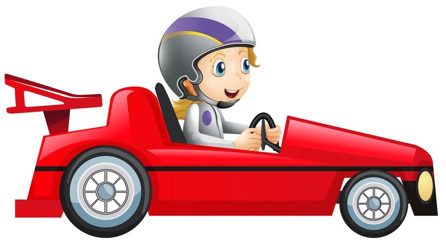 Femme au volant d'une voiture de course rouge