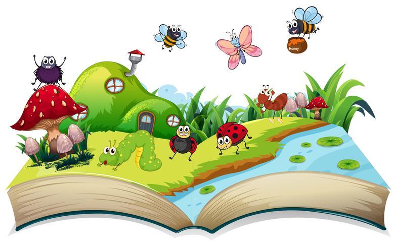 Insecto feliz en libro abierto