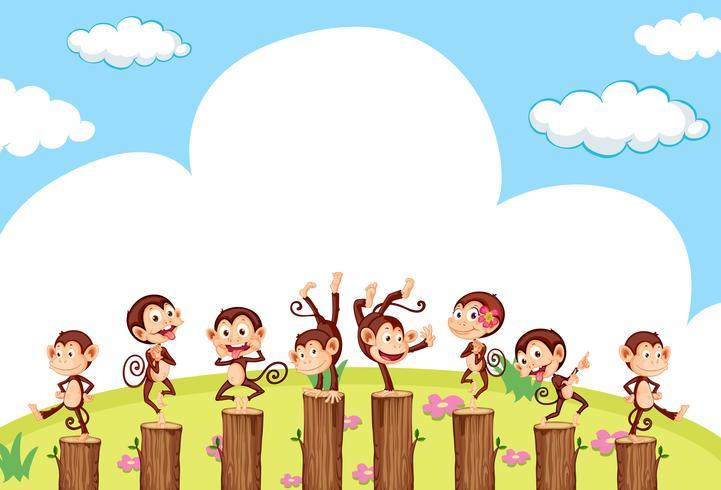 Scene with cute monkeys on log