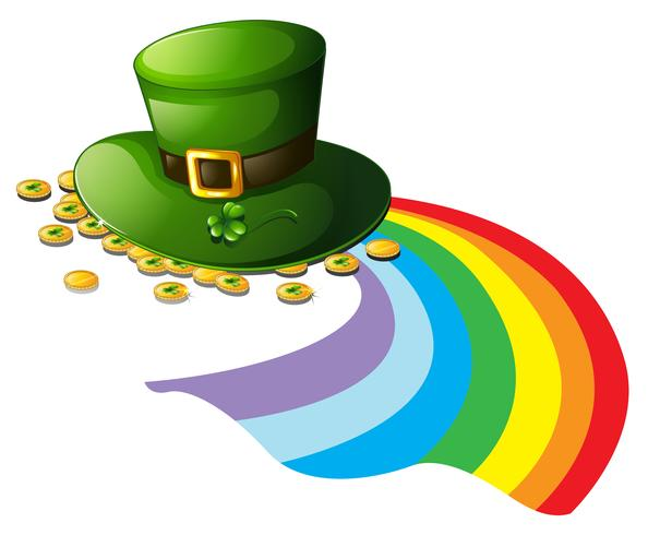 A green hat with gold tokens