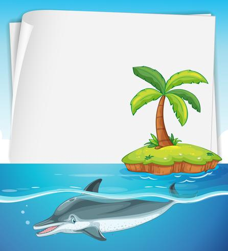 Ontwerp van het document met dolfijn in de zee