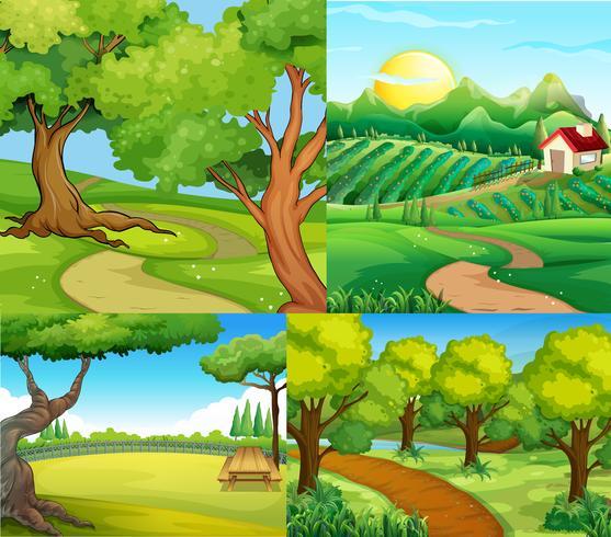 Vier scènes met boerderij en park