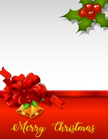 Christmas Card Template With Mistletoes And Red Ribbon