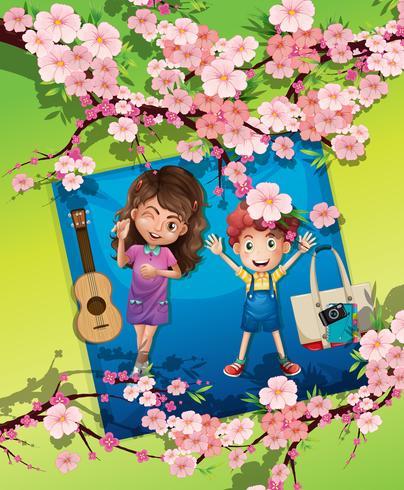 Een jongen en een meisje bij het park