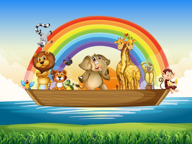 Wild animals riding on rowboat