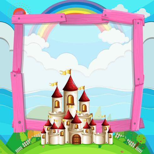Diseño de marco con castillo en el campo.