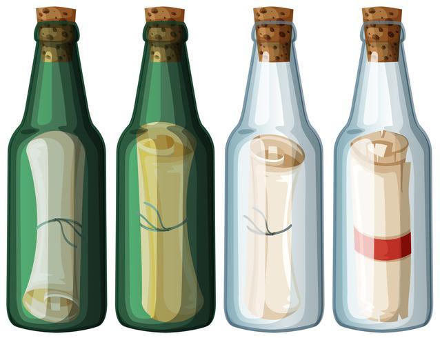 Vier glazen flessen met bericht