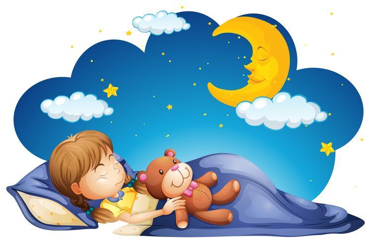 Meisjeslaap met teddybear bij nacht