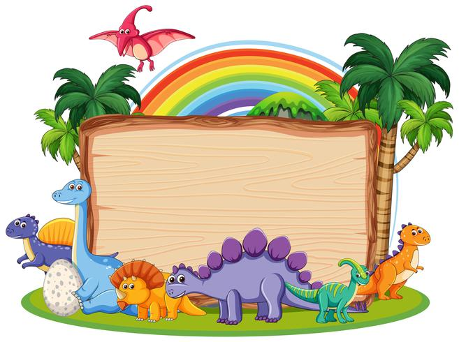 Många dinosaur på träbanderoll