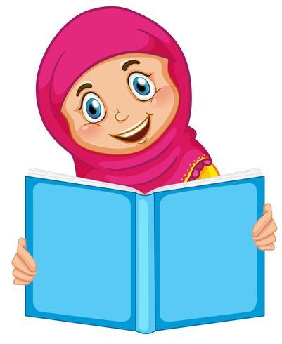 Una ragazza musulmana che legge un libro