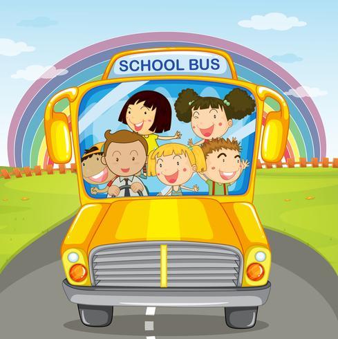 Children riding in the school bus