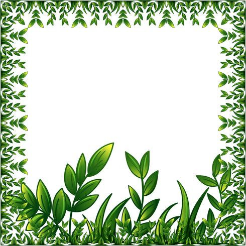 Gröna växter ram med dekorativ prydnad