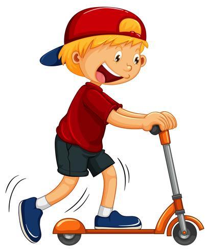 Niño jugando mano scooter