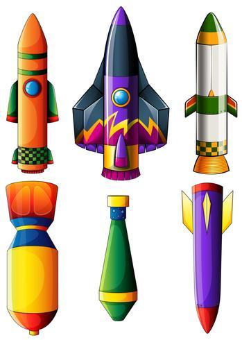 Un grupo de cohetes de colores.