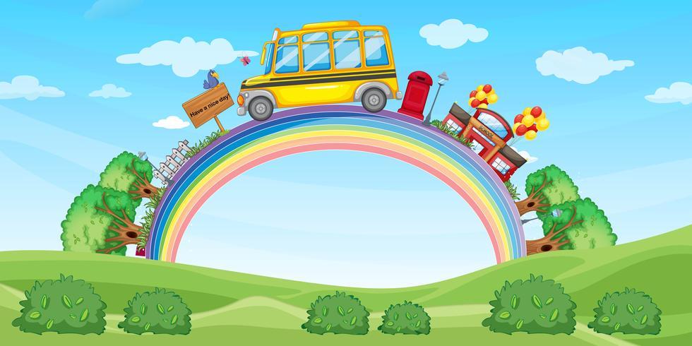 Escola e ônibus escolar no arco-íris