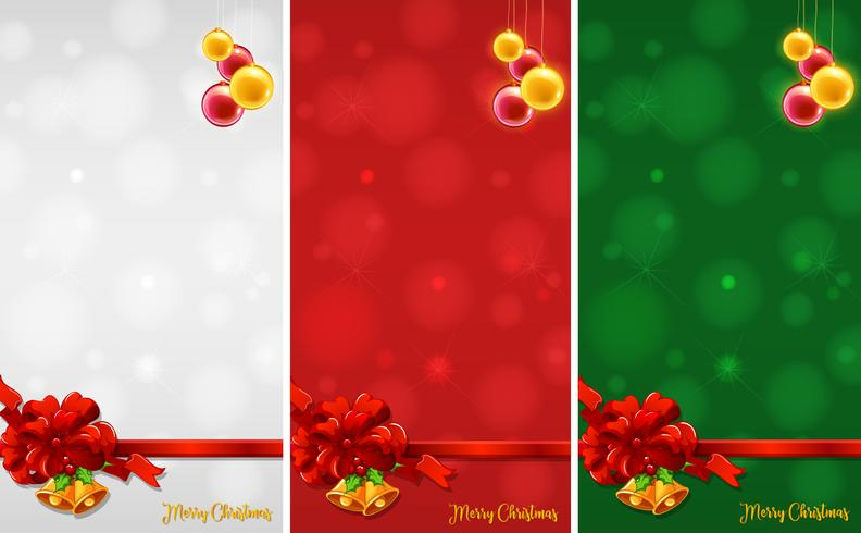 Diseño de tres fondos con adornos navideños.