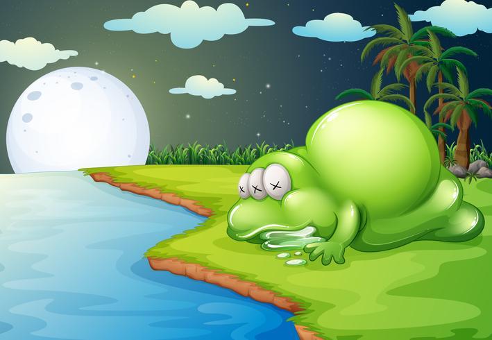 Een monster dat in de buurt van de rivier slaapt