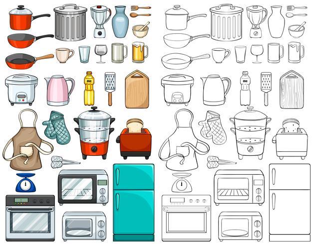 Utensílios de cozinha e equipamentos vetor