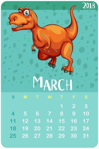 Modello di calendario per marzo con t-rex