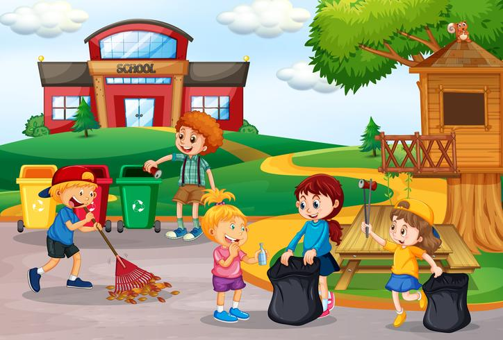 Niños voluntarios recogiendo basura en la escuela