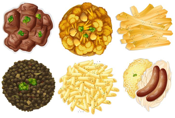 Conjuntos diferentes de alimentos