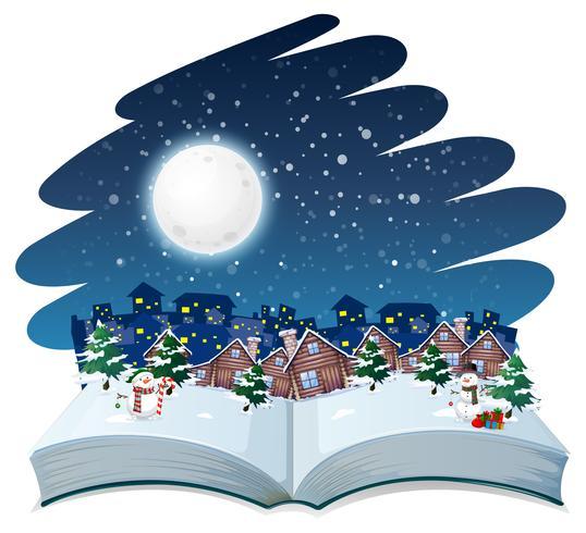 Libro abierto tema de invierno al aire libre vector