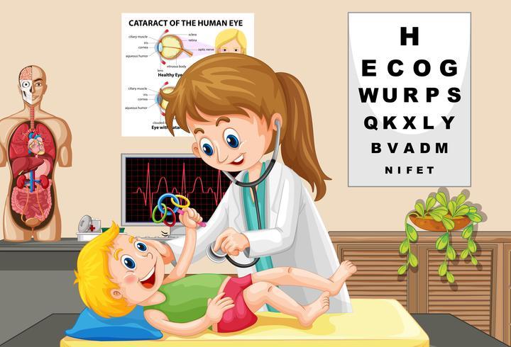 Doutor, verificar, um, bebê