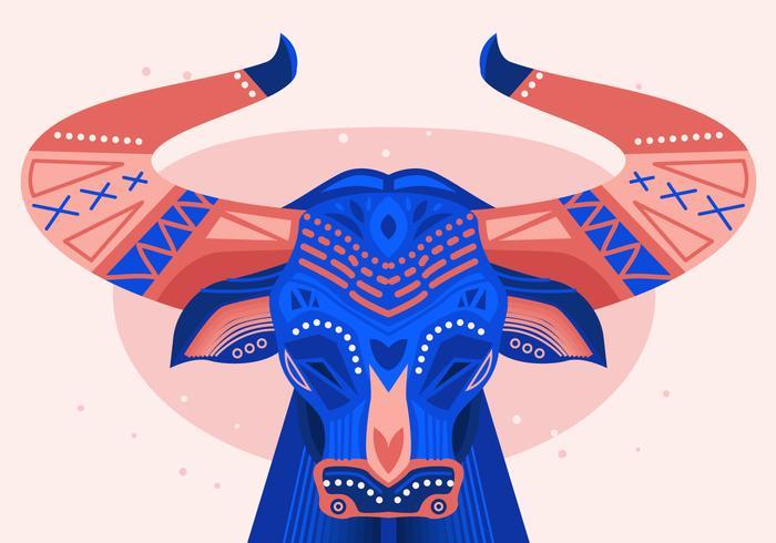Bumba Meu Boi Bulls pintada ilustração vetorial plana