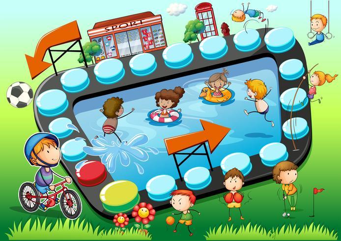 Modelo de jogo com fundo de crianças e esportes