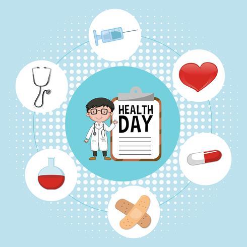Médico e elementos médicos para o dia da saúde