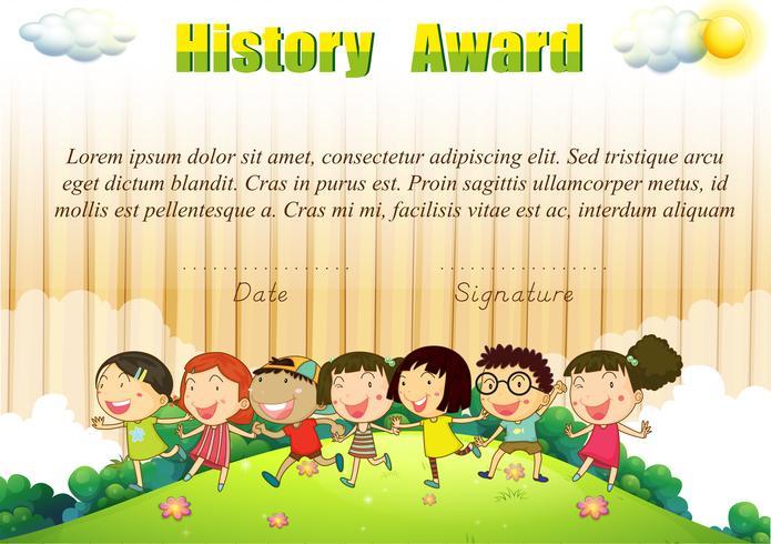 Modello di premio storico con i bambini nel parco