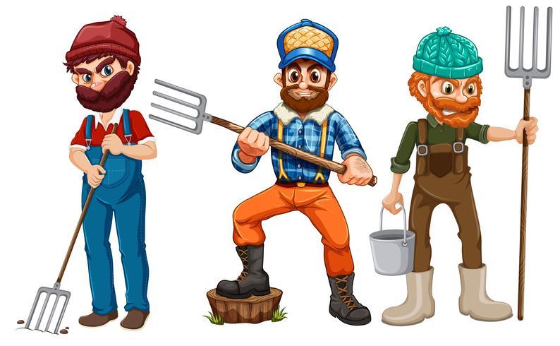 Conjunto de caracteres del granjero.