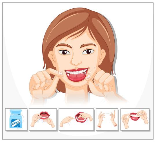 Femme montrant comment utiliser la soie dentaire