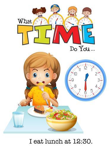 Uma menina almoçando às 12:30