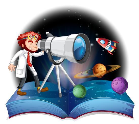 Cientista, olhar, telescópio