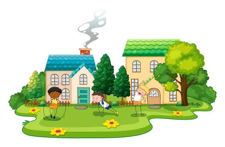Kinderen doen oefeningen voor huizen