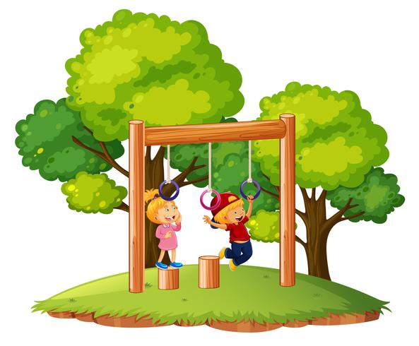 Crianças, tocando, ligado, barras macaco