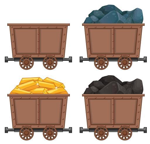 Carrinhos de mineração com pedras e ouro