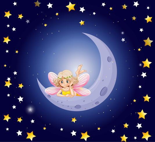 Söt fe och månen i himlen
