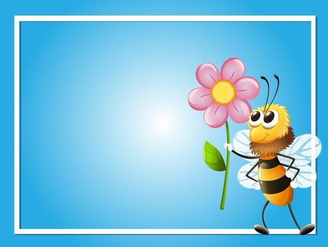 Modelo de quadro com abelha e flor
