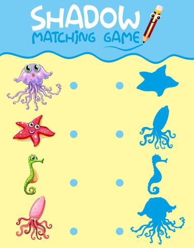 Sombra de criatura do mar jogo modelo de correspondência