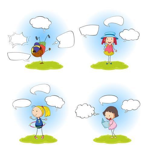 Set van kinderen met spraakballon