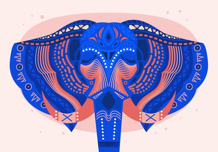 Gemalte Hauptelefant-Festival-Vektor-flache Illustration